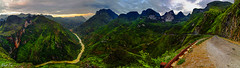 Ma Pi Leng Pass in panorama (Black Baron93) Tags: travel sunset panorama canon river landscape asia pass roadtrip tokina vietnam highland land moutain moutains longroad overview serials landscapephotography panoramicphoto hagiang hgiang mapileng tokina1116 bigpanorama canon600d mplng canonkissx5 worldroad highlandprovine