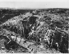 WWI1951N1 (ww1images) Tags: wood landscape hole post mud timber shell trench splinter collapse barbedwire shattered dugout zigzag devastation stake corrugatediron destroy revetment shuttering duckboard firestep funkhole elephantiron chevaudefrix