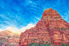 Big Rock and Big Sky (pretty-nifty) Tags: park red sky mountains rock clouds rockies utah nationalpark nikon kitlens bluesky formation national bigsky zion zionnationalpark redrock nikkor hdr d5000