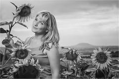 In the Sunflowers (Tomas.Kral) Tags: portrait bw woman girl canon 50mm blackwhite sunflower m42 helios speedlite eosmarkii strobist yn560ii