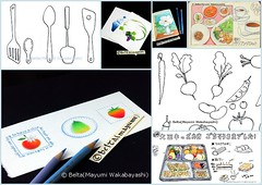 035_2014_08_30_01_s (blue_belta) Tags: food flower art moleskine apple fruits illustration sushi lunch sketch drawing sketchbook pear bento draw bentou grape  coloredpencil colorpencil     washoku      obentou