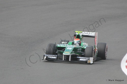 Alexander Rossi in his EQ8 Caterham during the first GP2 race at the 2014 British Grand Prix weekend