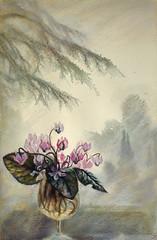 Cyclamnes (~viento~del~mar~~) Tags: flowers stilllife tree primavera window nature spring pastel watercolour printemps cyclamens frueling   garoun