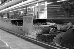 Bakery Case (tim.perdue) Tags: city light columbus ohio urban bw white black reflection glass monochrome cake fruit french dessert downtown market chocolate district north case arena patisserie bakery short passion pastry raspberry vera feuilletine pistacia