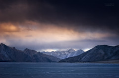 Frozen Pangong Tso (Motographer) Tags: winter lake mountains landscape frozen twilight border tibet himalayas jk ladakh saltwater brackish pangongtso motographer fotografikartz motograffer