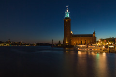 Stockholm City Hall from the Gamla Stan Bridge (in Explore 9/5/14) (stevebfotos) Tags: bluehour cityscape longexposure night stockholm sweden explored in explore