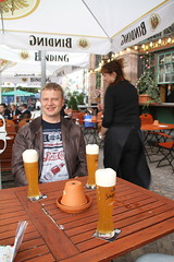 Kjell with a cold one in Frankfurt!