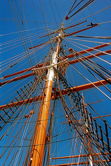 'Polly Woodside' 1980s photo (SteveMather) Tags: lines boat sailing australia melbourne bluesky rope rig sail restoration blocks sisal tallship 1980 masts rigging barque spe hemp 1885 royals diagonals converging pollywoodside ratlines crossarms earlyphoto topmasts smartphotoeditor topgallants