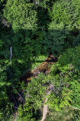 Don't look down (kirsten.elise) Tags: bridge camping trees vacation sun green water up sunshine forest canon river high woods hiking michigan sightseeing sunny upperpeninsula peninsula sights yooper northernmichigan cutriver cutriverbridge puremichigan canonrebelt3i