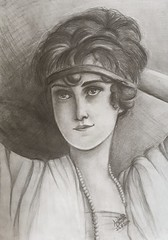 Portrait Vintage Lady (lilac-girl90) Tags: old flowers summer portrait black art love girl beauty smile lady vintage photography sketch spring artwork eyes photos iraq sketching baghdad