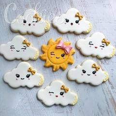 SunClouds (cREEative_Cookies) Tags: baby shower babyshower cookies harry potter elephant chic birds mason jar lace delicate flower sports its boy girl blessed baptism crib teddy bear kokeshi dolls sunshine clouds happy flowers girly boyish sugar edible art theme custom royal icing baked adorable roses daisies fondant booties shoes onesies bibs personalized sugarveil