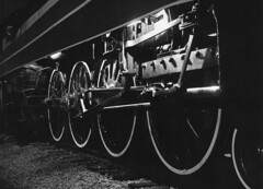 Rods and drivers, 1976 (clarkfred33) Tags: nighttime timeexposure sp4449 steamlocomotive 1976 sphistory americanfreedomtrain stpetersburg history daylightlocomotive vintage vintagephoto historicphoto southernpacific blackandwhite lighting