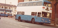 Brighton Corporation CUF145L - 45 . Brighton May 1980 (busmothy) Tags: 45 willowbrook rothmans brightoncorporation leylandatlantean cuf145l 43queensparkrd