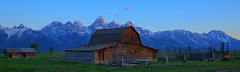 Alpenglow and the John Moulton Barn (matthew.gowan) Tags: barn sunrise bravo grandteton alpenglow grandtetonnationalpark moultonbarn