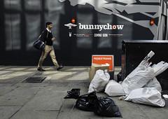 bunnychow (stevedexteruk) Tags: street man bunny london trash walking soho chow rubbish pedestrians bags 2014 meardstreet bunnychow meard