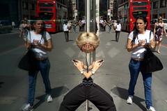 iPhones (Gary Kinsman) Tags: fujifilmfinepixx100 gracechurchstreet ec3 london cityoflondon candid streetphotography streetlife window reflection reflective double ipod iphone mirror londonist fujix100 2014 people person