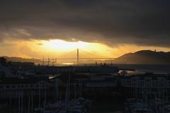 Sunset In San Francisco (flowerwine) Tags: sanfrancisco california bridge sunset sailboat harbor pier dock goldengatebridge mast 18200mm canon7d