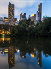 Pond Reflection (P7261348) (Michael.Lee.Pics.NYC) Tags: park blue newyork reflection skyline night skyscraper pond long exposure cityscape central hour 10mm rokinon