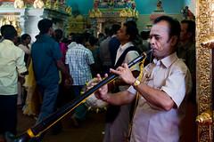 The musician - Sri Veeramakaliamman Temple - Singapore (waex99) Tags: leica portrait musician india man digital temple little indian religion rangefinder ritual hindu indien homme sinagpore musicien elmarit 28mmf28 m240 indou testessai