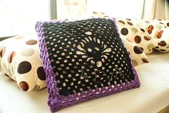 V <3 K  4EVA (ellyoracle77) Tags: black love skull purple handmade crochet marriage biker cushion imagery vk2014