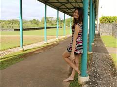 Park 11 (jorahtheandal2014) Tags: park woman nature pose landscape scenery dress barefoot