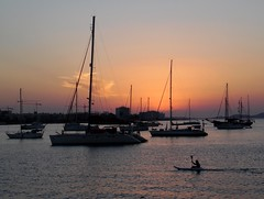 San Antonio Bay at Sunset - Ibiza (Gilli8888) Tags: sunset sea seascape silhouette sanantonio port boats marine mediterranean harbour canoe ibiza maritime yachts masts santantoni balearicislands balearic