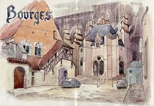 Bourges, rue donnant sur la  cathédrale