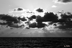 Sunset black and white (Nadia Rifaat) Tags: sunset sea sky blackandwhite cloud sun nature monochrome landscape coast mediterranean outdoor north egypt