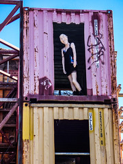 Come On Overt To My Place (Steve Taylor (Photography)) Tags: johnkey handbag usa flag dress fishnet stockings blowupdoll ucls framework strenghening support art container scaffold smile smiling lady woman man newzealand nz southisland canterbury christchurch cbd city mini mannequin dummy