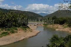 30100574 (wolfgangkaehler) Tags: 2017 asia asian southeastasia laos laotian luangprabang centrallaos view mekong mekongriver river riverbank landscape scenery scenic namkhanriver confluence bridge bamboo bamboobridge