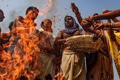 Feeding the fire - Sonepur, India (Christian Clowes) Tags: india in bihar hajipur hindu hinduism asia religion nikon d500 street streetphotography christianclowes ritual women outdoor men fire flame heat fuel pilgrim dance