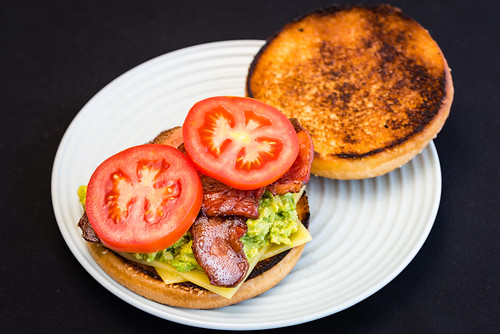 Bacon, tomato, avocado and cheese sandwich