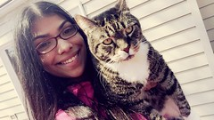 Sibling LOVE (amandamcl1) Tags: paws purrfect cutie glasses coat meow cream fluffy shutters porch home cloudy warm sunny deck siblings myheart protective happiness smile amazing cuddles playful aunty favorite love perfect tan gray white black stripes tabby family bff nephew cats
