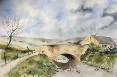 Le petit pont (Demars Philippe) Tags: demars chariot aquarelle watercolor pont paysage rivière ciel