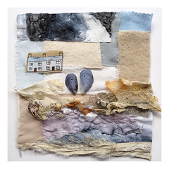 st. ives textile piece (Carolyn Saxby) Tags: textileart textiles melted fabrics chiffon wool silk cotton linen rust vintagebutton musselshells seaweed carolynsaxby stitchedcollage stives cornwall composition design stitch