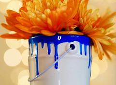 Paint pot of fun memories (jeannie debs) Tags: macromondaysglaze paint pot miniture ceramic pottery blue orange colourful glaze macro bokeh bright flowers chrysanthemum mum mother mums hmm love explore