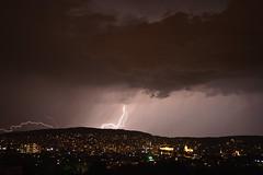 Midnight lightning (Yutta Wyrt) Tags: rot by night lightning zürich blitz