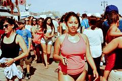Coney Boardwalk (slightheadache) Tags: nyc newyorkcity summer newyork film beach brooklyn coneyisland daylight nikon fuji filmcamera coney lightroom expiredfilm 2014 fujisensia