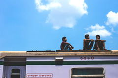 Best thing to travel by (Hermaenos) Tags: street blue sky color train canon streetphotography 6d vftw