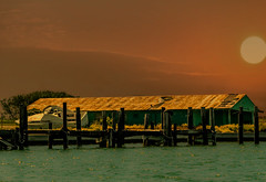 Faded Dreams (Jims_photos) Tags: adobephotoshop fishingboat risingsun adobelightroom coastalscene fishingdock inglesidetexas