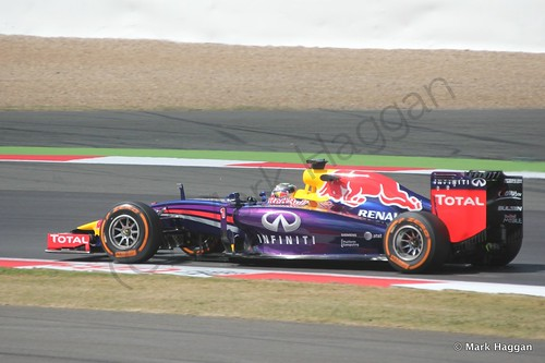 Sebastian Vettel in his Red Bull during Free Practice 1 at the 2014 British Grand Prix