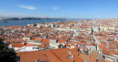 Lisbon from above (littlemisspurps) Tags: bridge blue roof red sky portugal statue clouds canon view rooftops christ lisbon aerial sx240