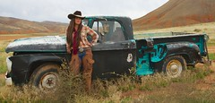 Kelly by Pickup Truck (blackhawk32) Tags: horse cowboy wranglers western wyoming cowgirl hideout lodge hideout