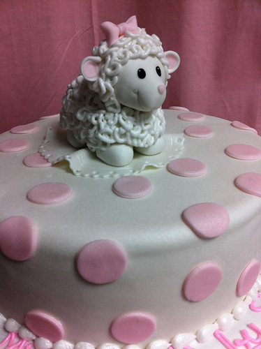 Pink Sheep polka dots cake