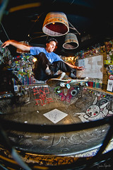 Mr. Greenfield takes it down (jawrr) Tags: barcelona bar flash bowl fisheye skate skateboard nevermind strobist skatebar ziongreenfield