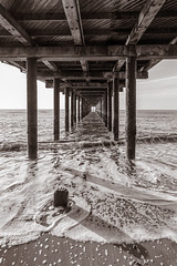 Grace Under Pressure. (Rickenbackerglory.) Tags: sea blackandwhite sepia pier suffolk tide southwold
