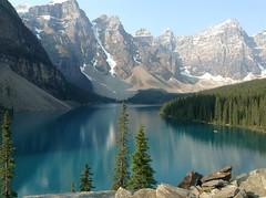 Banff NP ~ Moraine Lake morning (karma (Karen)) Tags: trees canada mountains topf25 lakes pines alberta 4summer morainelake ipad banffnp