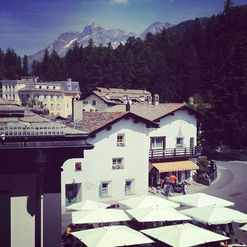 Arrived safely in Sils Maria. This is our new view, for the next week.