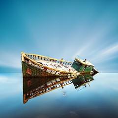 Dignity 2 (Martin Mattocks (mjm383)) Tags: longexposure sky seascape abandoned reflections landscapes boat cornwall ship horizon ripples wreck dignity squarecrop canoneos5dmarkii mjm383 martinmattocksphotography
