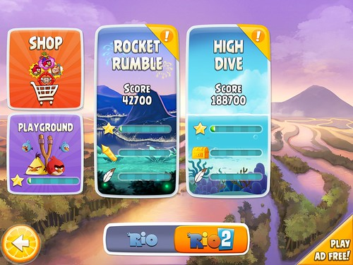 Angry Birds Rio Level Selection: screenshots, UI